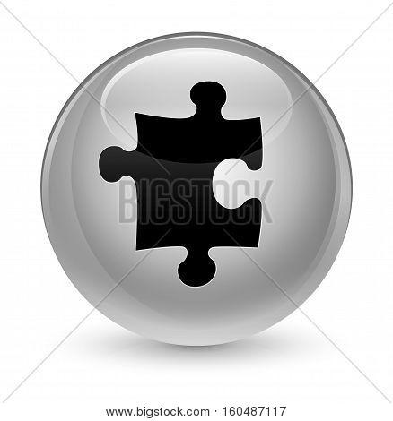 Puzzle Icon Glassy White Round Button