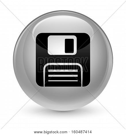 Floppy Disk Icon Glassy White Round Button