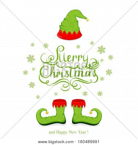 Green hat and shoes elf isolated on white background, lettering Merry Christmas and Happy New Year with snowflakes and holiday costume, illustration.