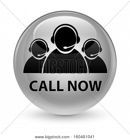 Call Now (customer Care Team Icon) Glassy White Round Button