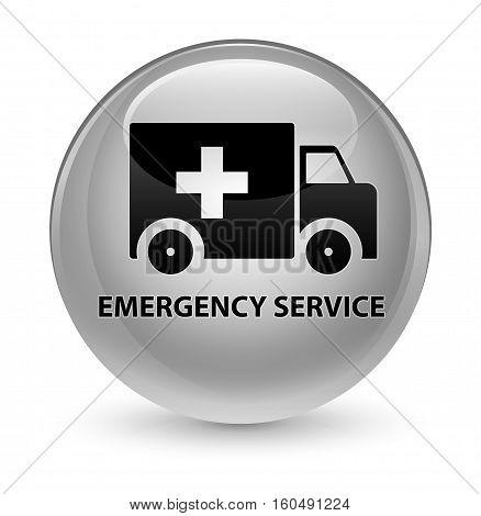 Emergency Service Glassy White Round Button