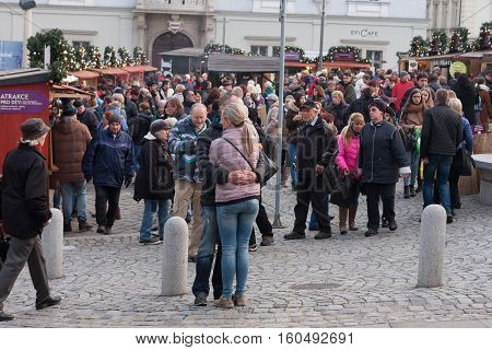 Brno,Czech Republic-November 26,2016 :People browsing market stalls at Christmas market on the Cabbage Market on November 26 ,2016 Brno Czech Republic