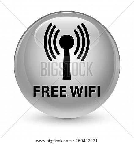 Free Wifi (wlan Network) Glassy White Round Button
