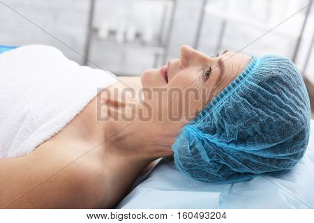 Senior woman ready for procedure at beauty salon