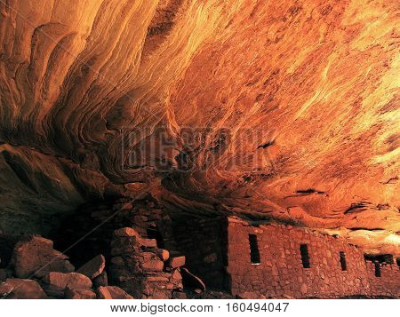 Ancient Anasazi moon house stone cliff dwelling