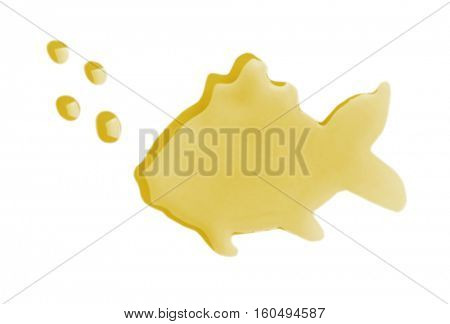 Fish made of cod liver oil on white background