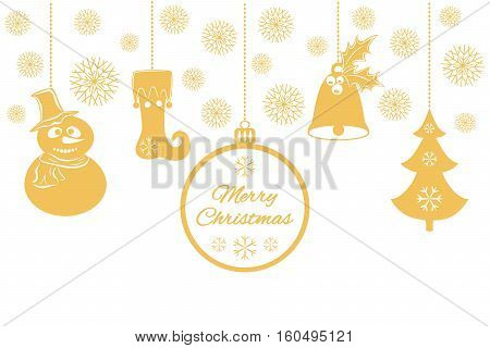 Various Christmas pendants such as a bell with holly, ball, fir-tree with snowflakes, a Snowman in hat and scarf, stocking. Universal border, isolated on white background. Vector illustration. It can be used to design greeting card, banner, invitation, lo