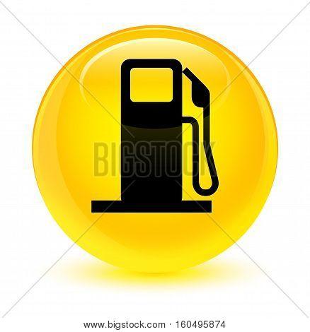 Fuel Dispenser Icon Glassy Yellow Round Button