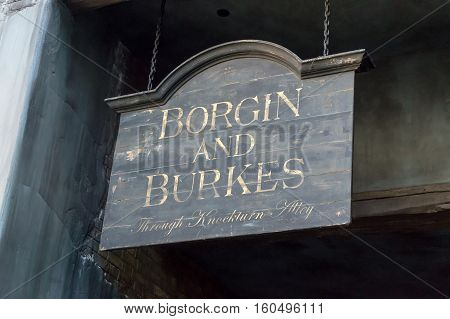 ORLANDO USA - NOVEMBER 1 2016: Borgin and Burkes Sign. The Wizarding World Of Harry Potter at Universal Studios Orlando. Universal Studios Orlando is a theme park resort in Orlando Florida USA