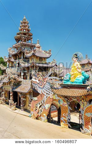Side View Of The Linh Phuoc Pagoda In The Mosaic Style From Shards Of Glass, Pottery And Porcelain