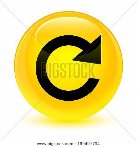 Reply Rotate Icon Glassy Yellow Round Button