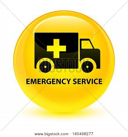 Emergency Service Glassy Yellow Round Button