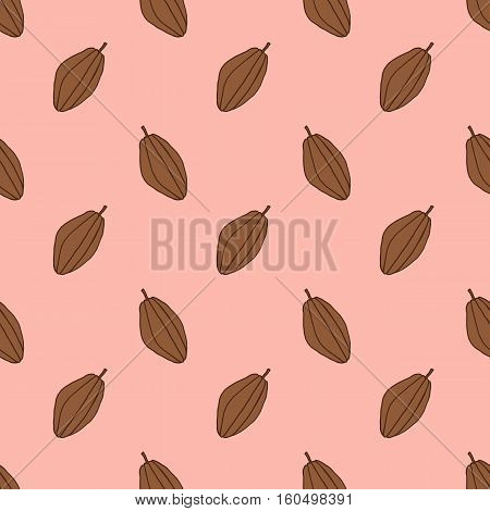 seamless pattern with cocoa. hand drawn fetus. pink background