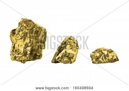 Golden nuggets close up isolated on white