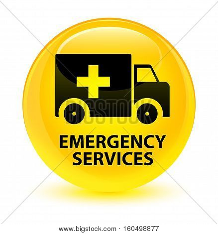 Emergency Services Glassy Yellow Round Button