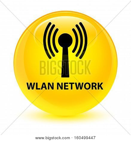 Wlan Network Glassy Yellow Round Button