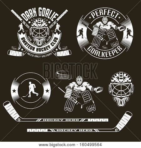 Hockey emblems with goalkeeper and goalie mask and also elements of sport equipment. Vector illustration on a dark background.