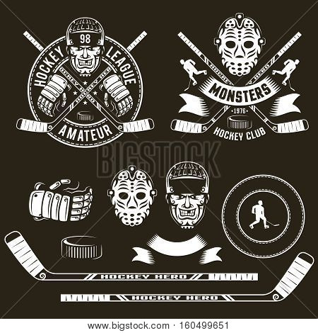 Hockey logo player head goalie mask crossed sticks and hockey accessories. Vector illustration.