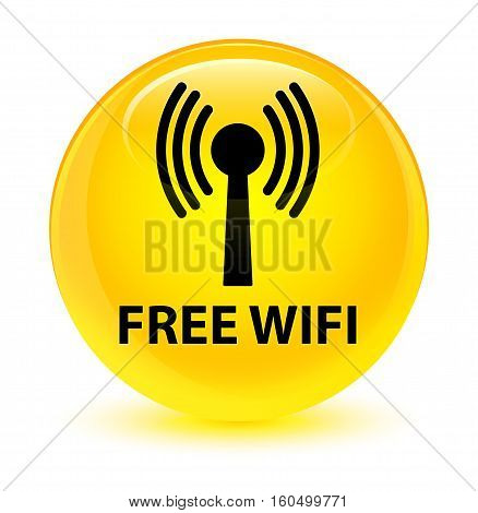 Free Wifi (wlan Network) Glassy Yellow Round Button
