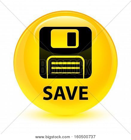 Save (floppy Disk Icon) Glassy Yellow Round Button