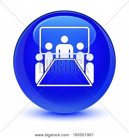 Meeting Room Icon Glassy Blue Round Button