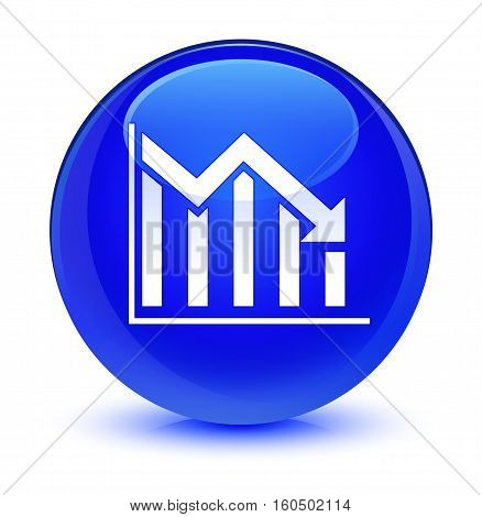 Statistics Down Icon Glassy Blue Round Button