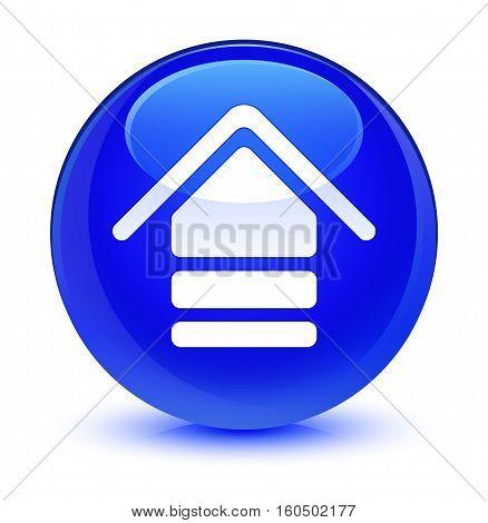 Upload Icon Glassy Blue Round Button