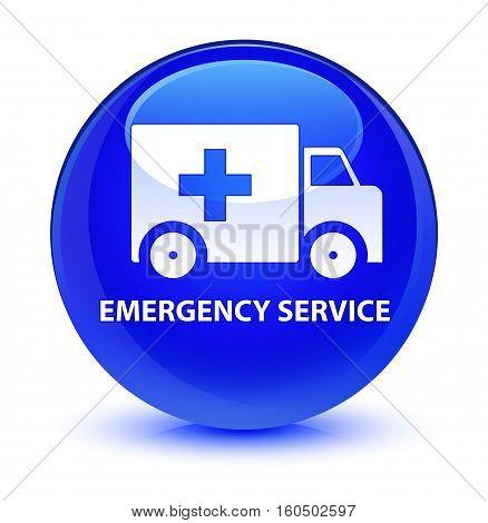 Emergency Service Glassy Blue Round Button