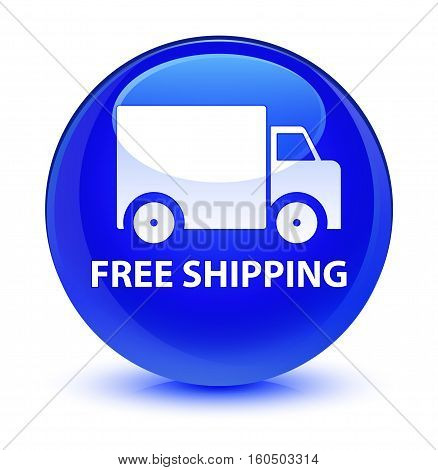 Free Shipping Glassy Blue Round Button