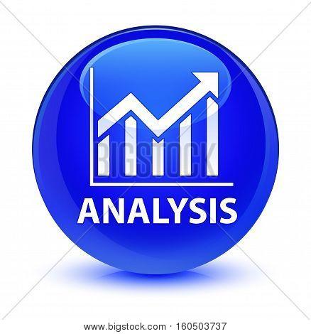 Analysis (statistics Icon) Glassy Blue Round Button