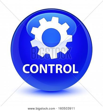Control (settings Icon) Glassy Blue Round Button
