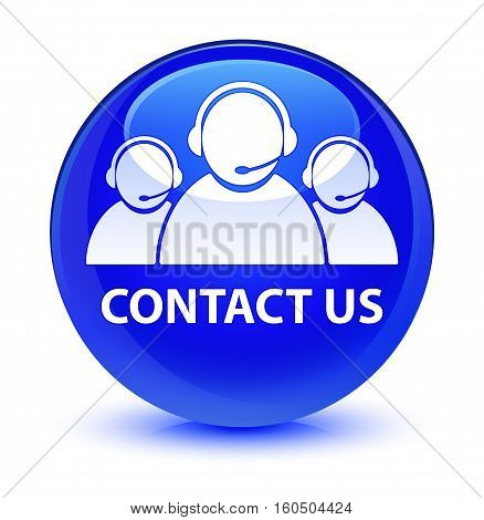 Contact Us (customer Care Team Icon) Glassy Blue Round Button