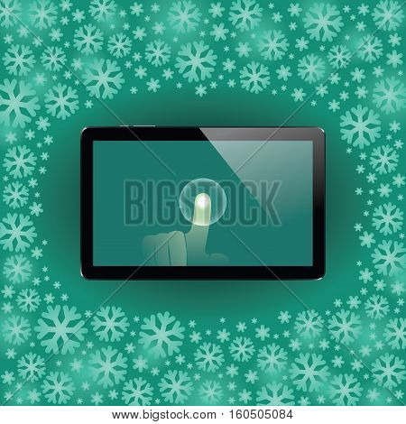 Digital tablet with shiny sensor screen with touch hand on snow flakes Christmas and New Year background. Electronic smart device. Mobile gadget. Vector illustration