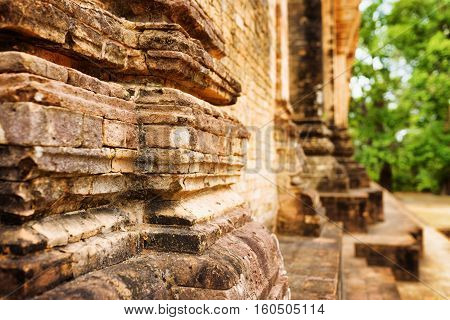 Closeup View Of Brickwork Of Prasat Kravan Temple In Cambodia