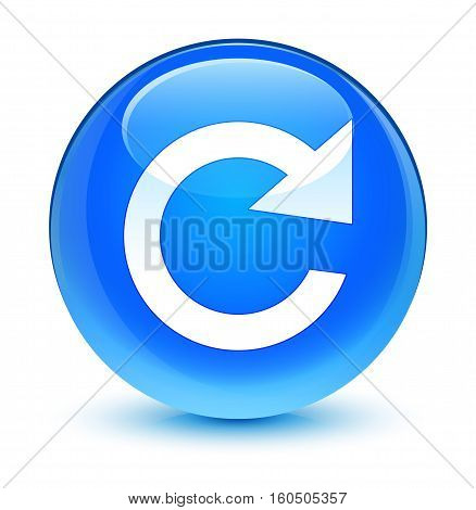 Reply Rotate Icon Glassy Cyan Blue Round Button