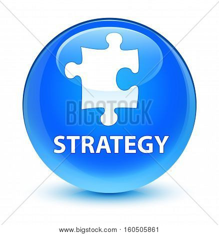 Strategy (puzzle Icon) Glassy Cyan Blue Round Button