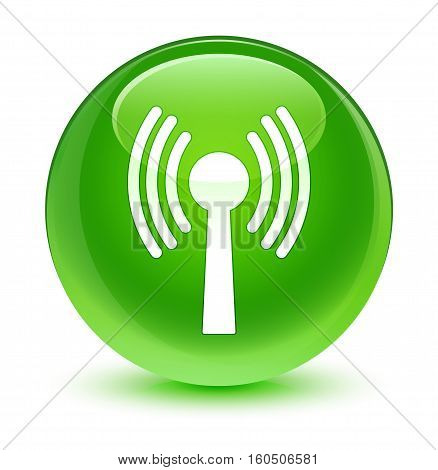 Wlan Network Icon Glassy Green Round Button