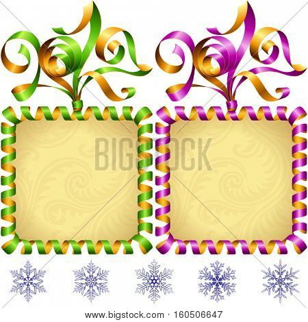 Vector New Year 2017 square frame set isolated on white background. Green and purple streamer