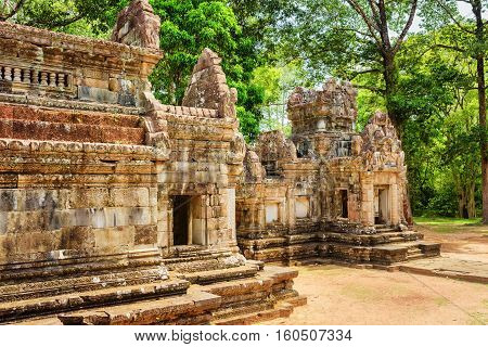 Side View Of Ancient Thommanon Temple In Angkor, Cambodia