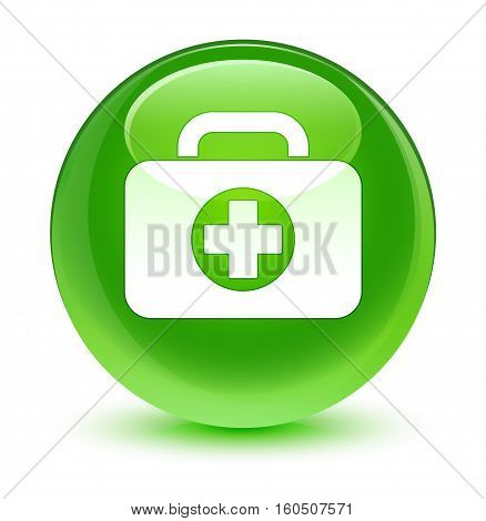 First Aid Kit Bag Icon Glassy Green Round Button