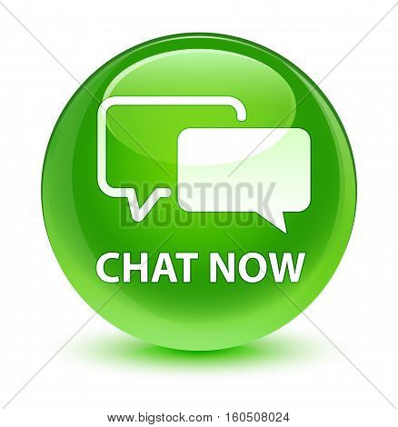 Chat Now Glassy Green Round Button