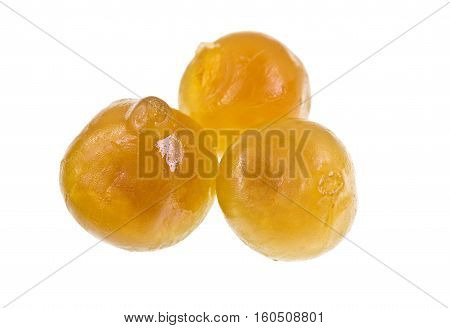Sweet whole candied figs isolated on a white background. Figs grow on the Ficus tree (Ficus carica).