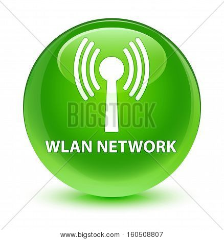 Wlan Network Glassy Green Round Button
