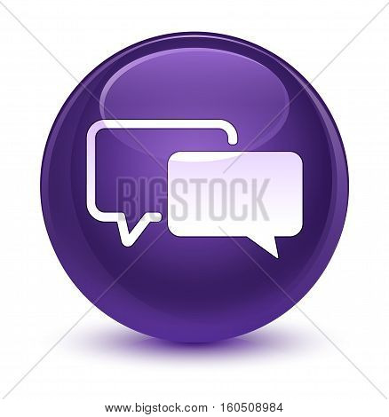 Testimonials Icon Glassy Purple Round Button