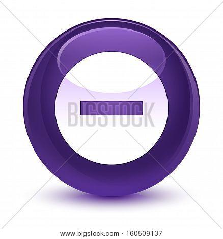 Cancel Icon Glassy Purple Round Button