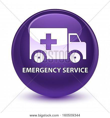 Emergency Service Glassy Purple Round Button