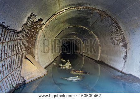 Wastewater from the factory, flowing through the sewer pipe