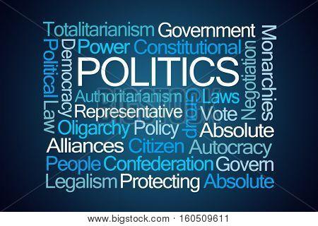 Politics Word Cloud on Blue Background