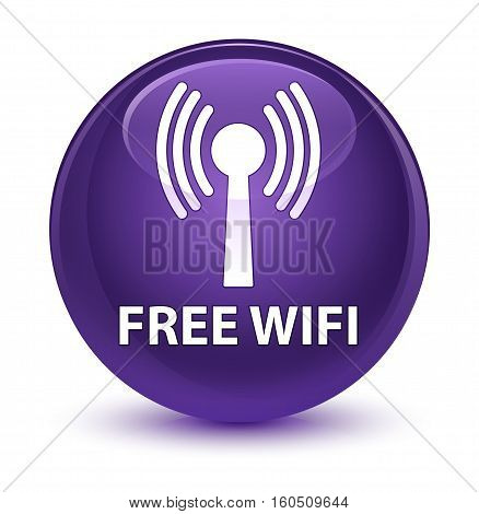 Free Wifi (wlan Network) Glassy Purple Round Button