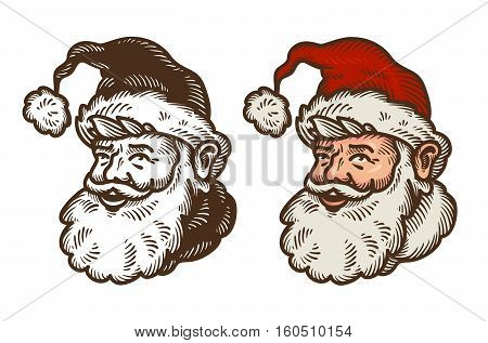 Christmas symbol. Portrait of funny Santa Claus. Cartoon vector illustration isolated on white background